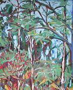 Malerei: Birken und Himmel