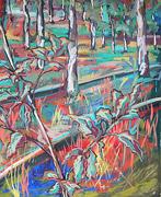 Malerei: Birken zwischen Schienen