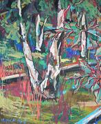 Malerei: Birken Stamm
