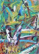 Ölmalerei: Ölmalerei (Birken, Schienen) - expressives Gemälde