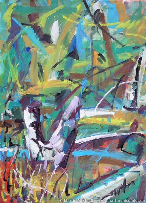 Ölmalerei (Birken, Schienen) - expressives Gemälde