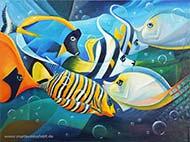 Fische - Kubismus, Ölmalerei halb-abstrakt