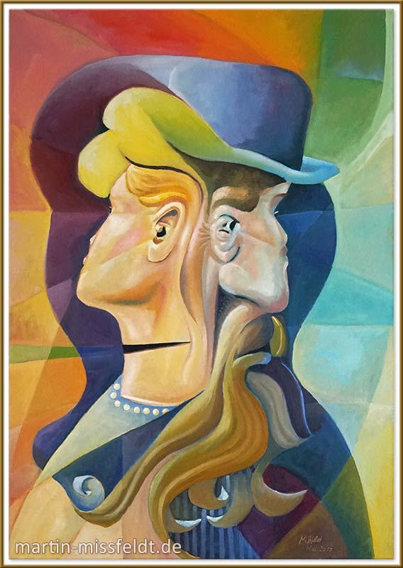 Vier Gesichter (Kippbild, Ölmalerei)