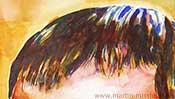 Haare mit Aquarellfarbe (Detail 2)