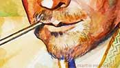 Mund und Kinn, Aquarell Portrait (Detail 4)