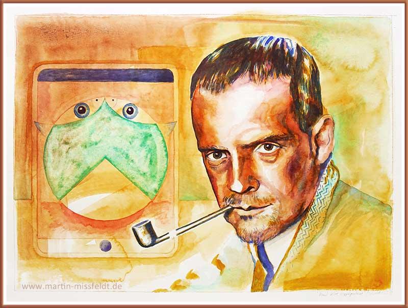Paul Klee Doppel (Aquarell, Portrait)