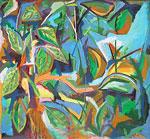 Ölmalerei: Abstrakte Malerei mit Blättern