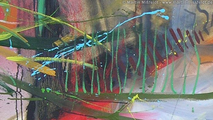 Vielschichtige Ölfarben: Gemalte Linien und gewischte Farbflächen