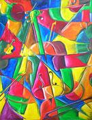 Kubismus Bild: Geige und Violine