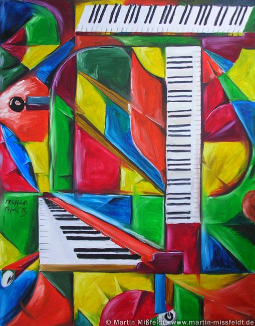 Kubismus Ölbild: Klavier mit Flügel