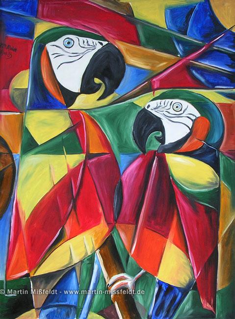 Papageien (Kubismus) - 1985, Öl auf Leinwand, 100 x 70 cm
