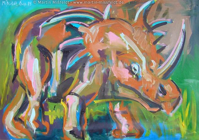 Ceratops - Dinosaurier Ölbild