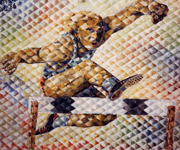 Ölbild Hürdenläufer