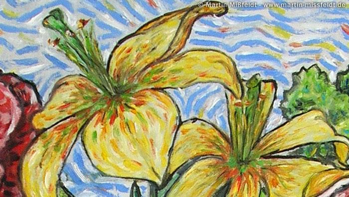 Blumen Blüte mit Ölfarbe