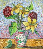 Ölmalerei: Ölbild Blumenvase