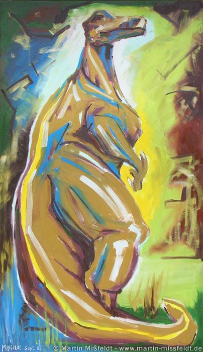 Ölbild Dinosaurier Iguanodon