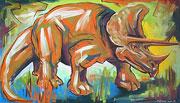 Ölbild Dinosaurier Triceratops