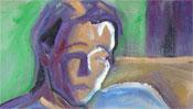 Expressive Malweise : Kopf des Mädchens