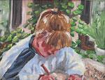 Ölbild - Mädchen malt