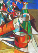 Ölmalerei: Abstraktes Ölgemälde - Flaschen Stillleben