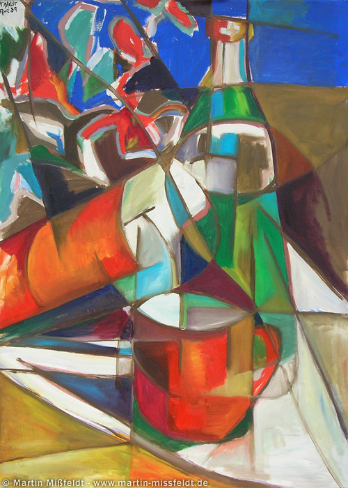 Ölbild Stillleben mit Flaschen