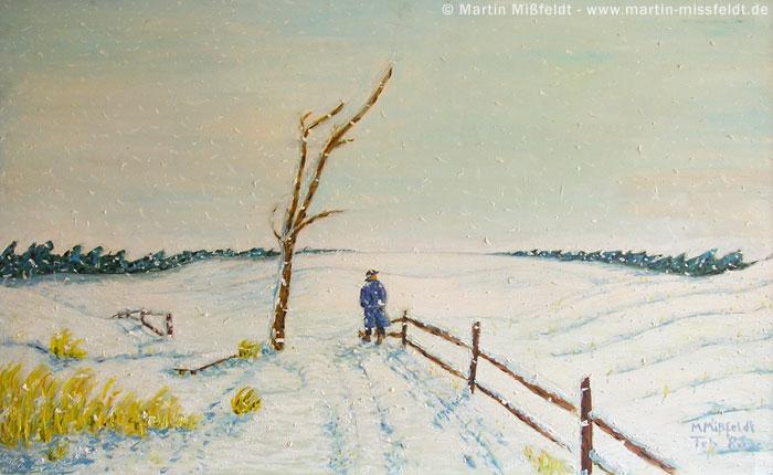 Ölbild romantische Winterlandschaft