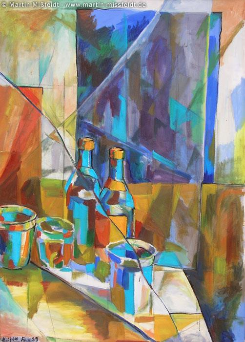 Ölmalerei Flaschen Stillleben