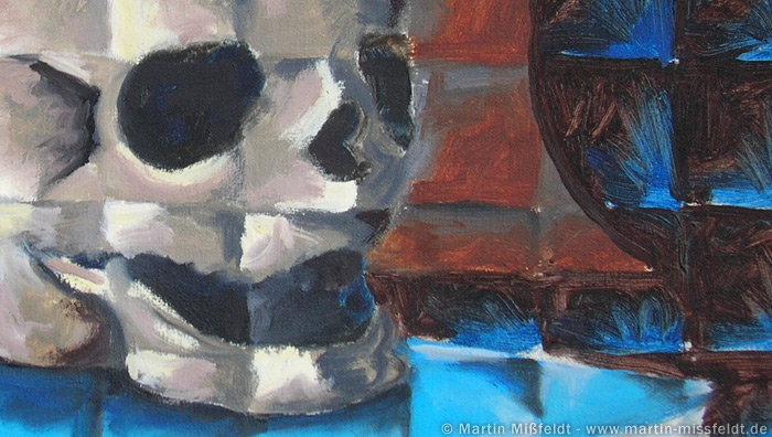 Morbides Lächeln des Totenkopfes