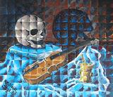 Ölbild: Totenkopf - Vanitas Stillleben mit Schädel