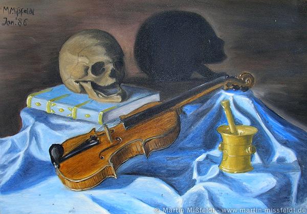 Ölbild Stillleben mit Violine und Totenkopf