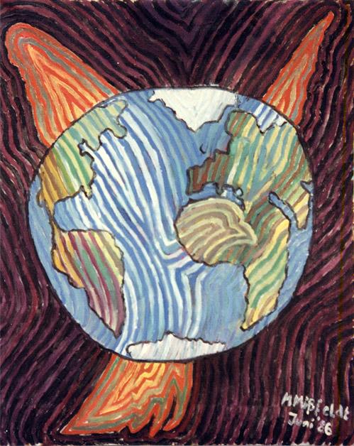 Malerei: Friedenstaube und Weltkugel
