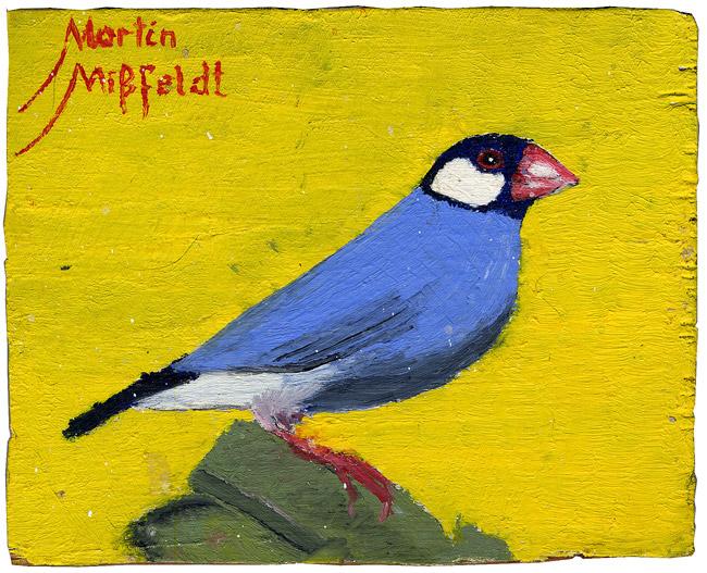 Ölbild: Vogel (irgendein Fink)