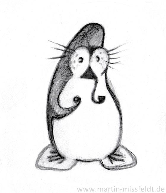 Pinguin mit Pfeife - Drehbild