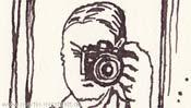 Zeichnung: Mann fotografiert