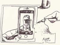 13: Zeichnung: Handy mit Foto einer Kamera