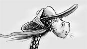 Schöne Giraffen Frau mit Hut und Schleier