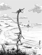 Einsame Giraffe am Tschad-See