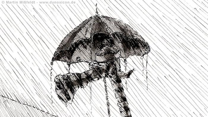 Jean Paul Sartre mit Regenschirm