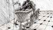 In der Badewanne mit Mantel und Zeitung