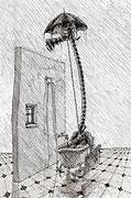Kunst Cartoon: Jean Paul Sartre : Regen