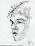 Portraitskizze mit Kohle