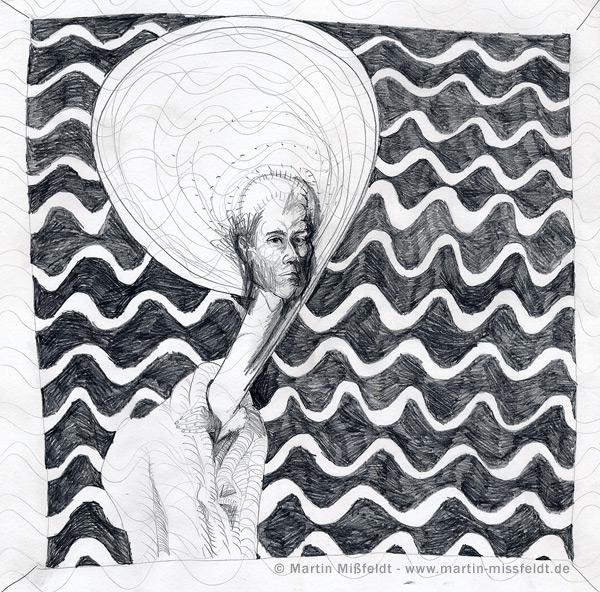 Bleistift Selbstportrait mit Wellen