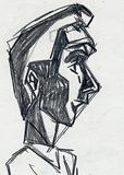 Scribble einer Comic-Figur im Profil