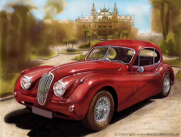 Jaguar XK140 vor dem Casino Monaco