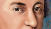 Mozart Augen und lange Nase
