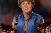 Angela Merkel mit den Waffen einer Frau