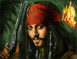 Jack Sparrow (Digital gemalt als Zeitraffer Video)
