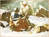 16: Matthaeus hört das Evangelium vom Engel (nach Poussin)
