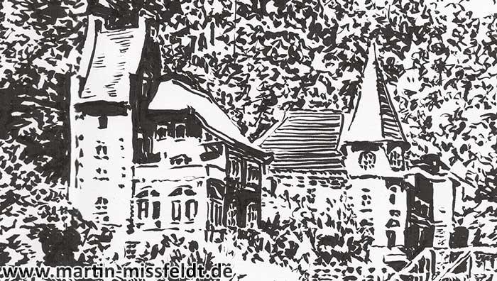 Landschaftszeichnung Bodetal (Detail 1)