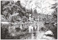 Landschaftszeichnung Bodetal